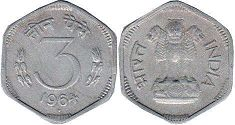 coin India 3 paise 1964