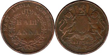 coin East India Company 1/2 anna 1835