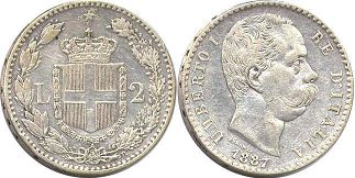 coin Italy 2 lire 1887