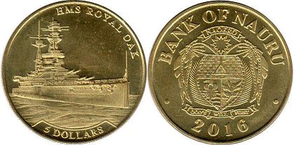 coin Nauru 5 dollars 2016