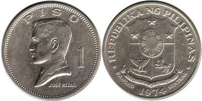 coin Philippines 1 piso 1974