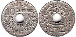 piece Tunisia 10 centimes 1919