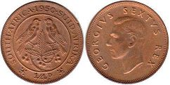 old coin South Africa 1/4 penny 1950