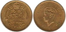 coin Ceylon 25 cents 1951