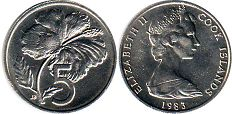 coin Cook Islands 5 cents 1983