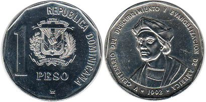 coin Dominican Republic 1 peso 1992