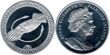 coin Falkland Islands 1 crown 2007