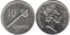 coin Fiji 10 cents 1987
