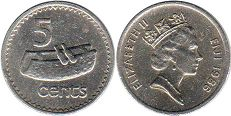 coin Fiji 5 cents 1986