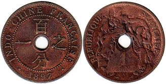 coin French Indochina 1 cent 1897