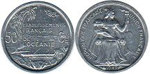 coin French Oceania 50 centimes 1949