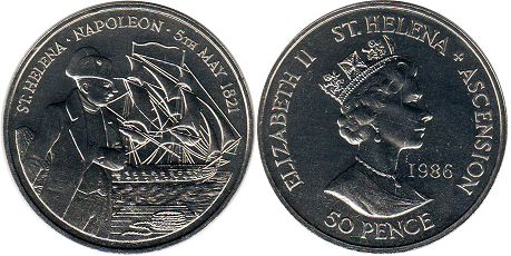coin Saint Helena and Ascension 50 pence 1986