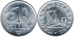 coin Hungary 50 filler 1990