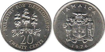 coin Jamaica 20 cents 1976