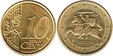 coin Lithuania 10 euro cents 2015