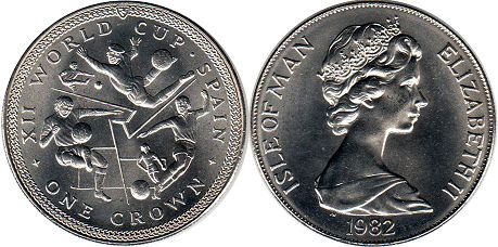 coin Isle of Man one crown 1982