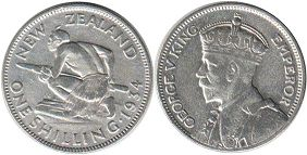 coin New Zealand shilling 1934