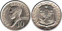 coin Philippines 10 centimos 1974