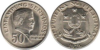 coin Philippines 50 centimos 1974