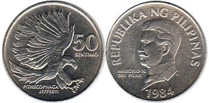 coin Philippines 50 centimos 1984