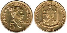 coin Philippines 5 centimos 1968