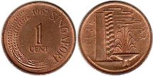 coin singapore1 cent 1967