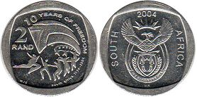coin South Africa 2 rand 2004 freedom
