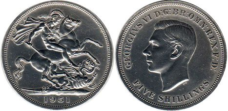 coin UK coin 5 shillings (crown) 1951