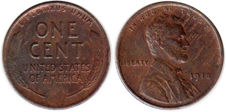 US old coin 1 cent 1918 Lincoln cent