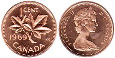 canadian coin 1 cent 1969