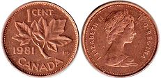 canadian coin 1 cent 1981