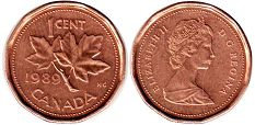 canadian coin 1 cent 1989