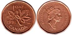 canadian coin 1 cent 1991