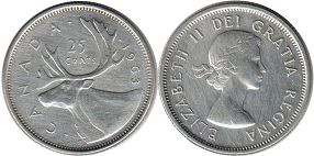 canadian coin 25 cents 1963