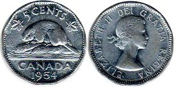 canadian coin 5 cents 1954