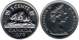canadian coin 5 cents 1973