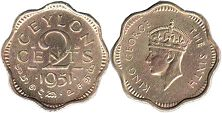 coin Ceylon 2 cents 1951