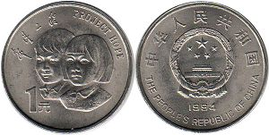 coin chinese 1 yuan 1994