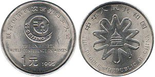 coin chinese 1 yuan 1995