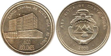 coin Costa Rica 500 colones 2000