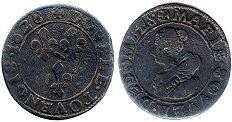 coin Dombes 2 denier 1628