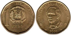 coin Dominican Republic 1 peso 2008
