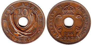 coin BRITISH EAST AFRICA 10 cents 1937