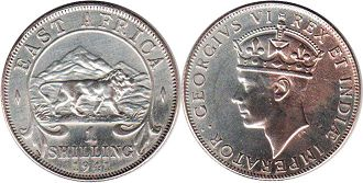 coin BRITISH EAST AFRICA 1 shilling 1941