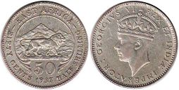 coin BRITISH EAST AFRICA 50 cents 1937