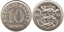 coin Estonia 10 senti 1931