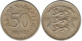 coin Estonia 50 centi 1936