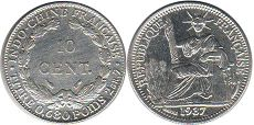 coin French Indochina 10 cents 1937