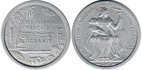 coin French Oceania 1 franc 1949