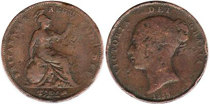 coin UK old coin 1 penny 1853